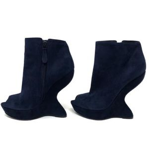 Alexander McQueen Shoes - Alexander McQueen Navy Blue Suede Heel Wedge Boot